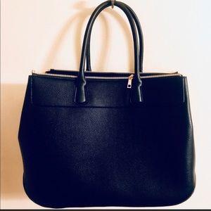 Black Faux Leather Weekender Bag   NWOT